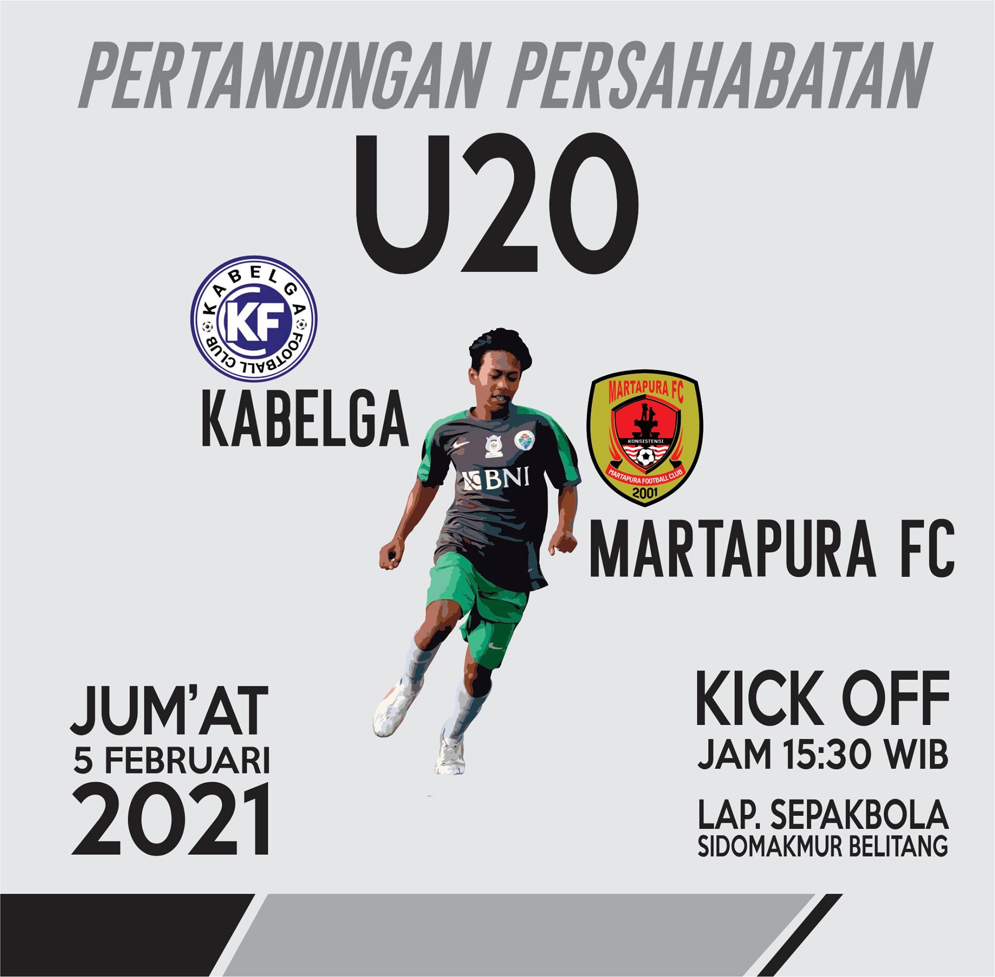 Jadwal Pertandingan Persahabatan Martapura FC dengan Kabelga FC, di Lapangan Sepakbola Desa Sidomakmur.