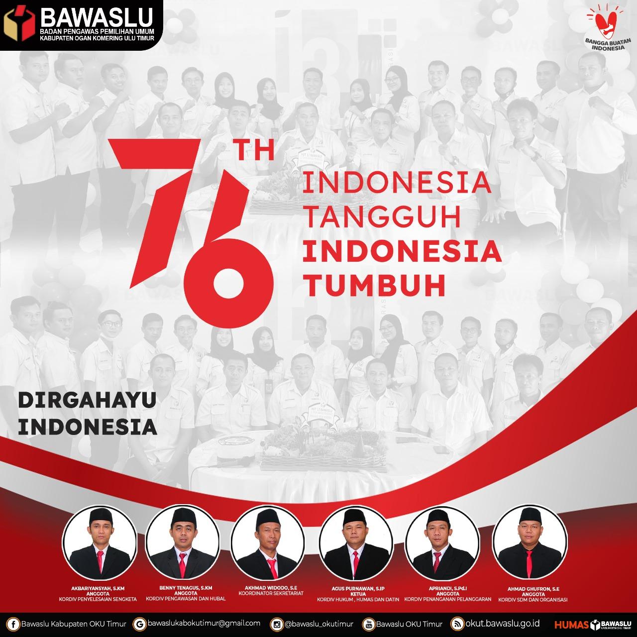 Bawaslu OKU Timur Dirgahayu Indonesia ke 76 Tahun  Indonesia Tangguh Indonesia Tumbuh